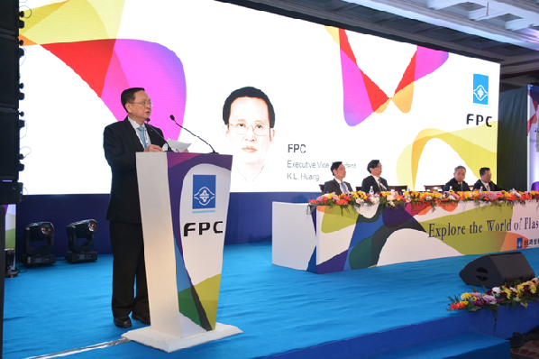 "FPC Executive Vice President, K. L. Huang, opens the ""Explore the World of Plastics"" Conference (Image courtesy of FPC)"