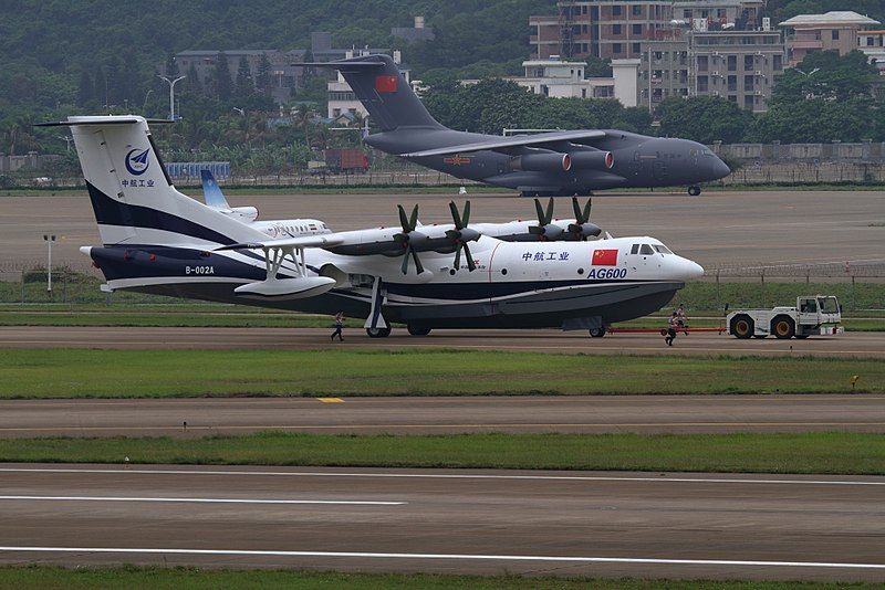The AG600 Kunlong giant amphibious aircraft in maiden China flight