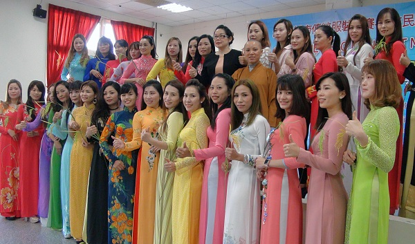 Participants in the showcase of Traditional Vietnamese gowns in Yunlin, TW Dec. 24