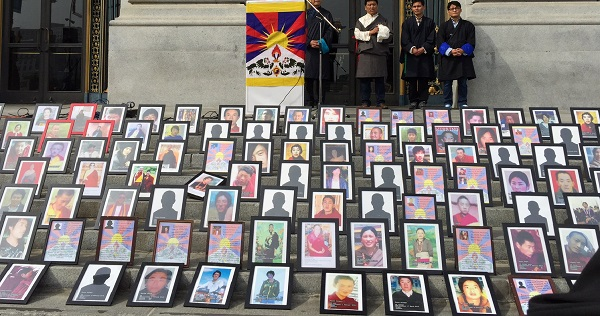 Portraits of Tibetans who have chosen to self-immolate (file photo 2015, cropped)