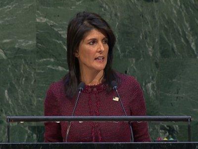 美國駐聯合國大使海利表示,美國將刪減未來兩年對聯合國投注的經費。 (美聯社)