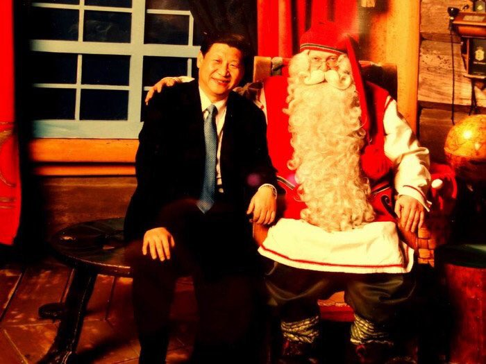 Image posted by Twitter user @fkue2015 of a visit Xi had with Santa in Finland in 2010.