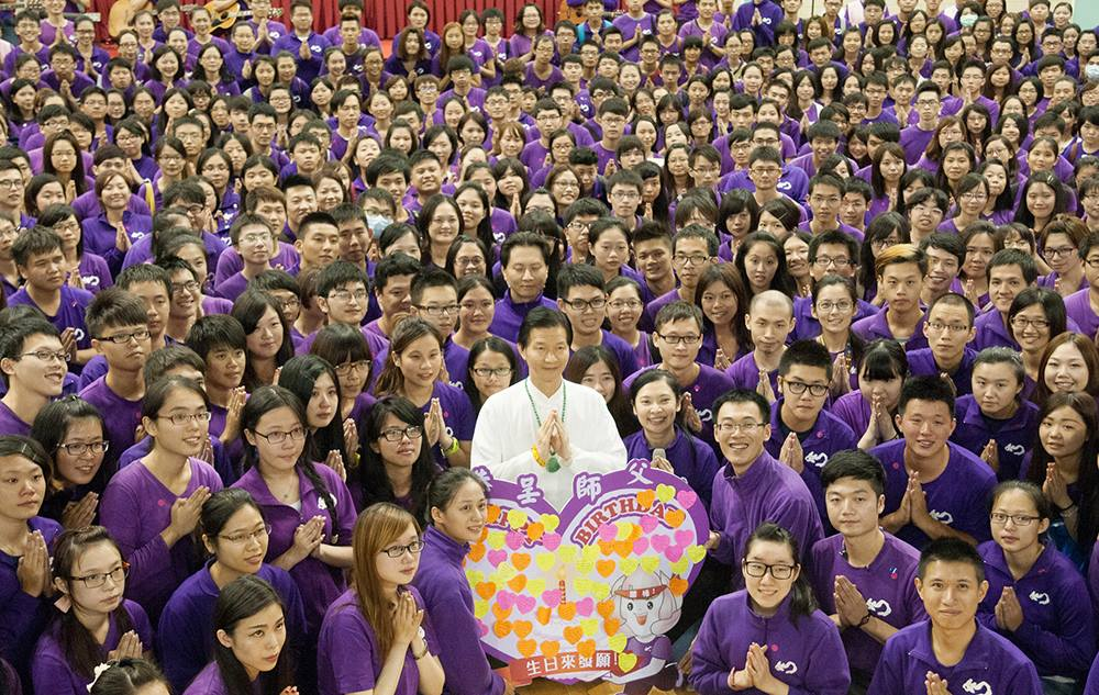 Rulai religious leader Miaochan and his followers. (Image courtesy of the Rulai Temple Facebook Page)