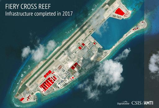 美國媒體提醒,美國急於處理朝鮮半島問題的同時,卻忽視中國在南海填海造陸、企圖稱霸的野心。(圖片來源:AP)