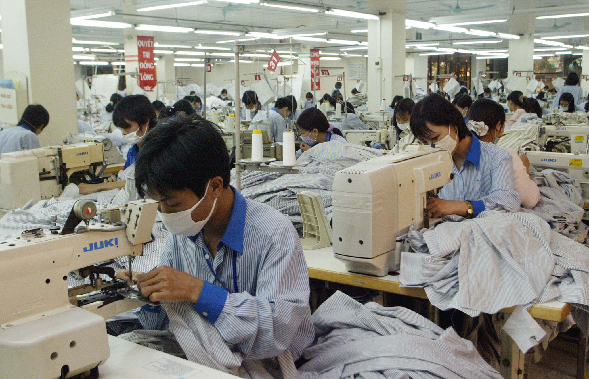 Workers at a garment factory in Vietnam.