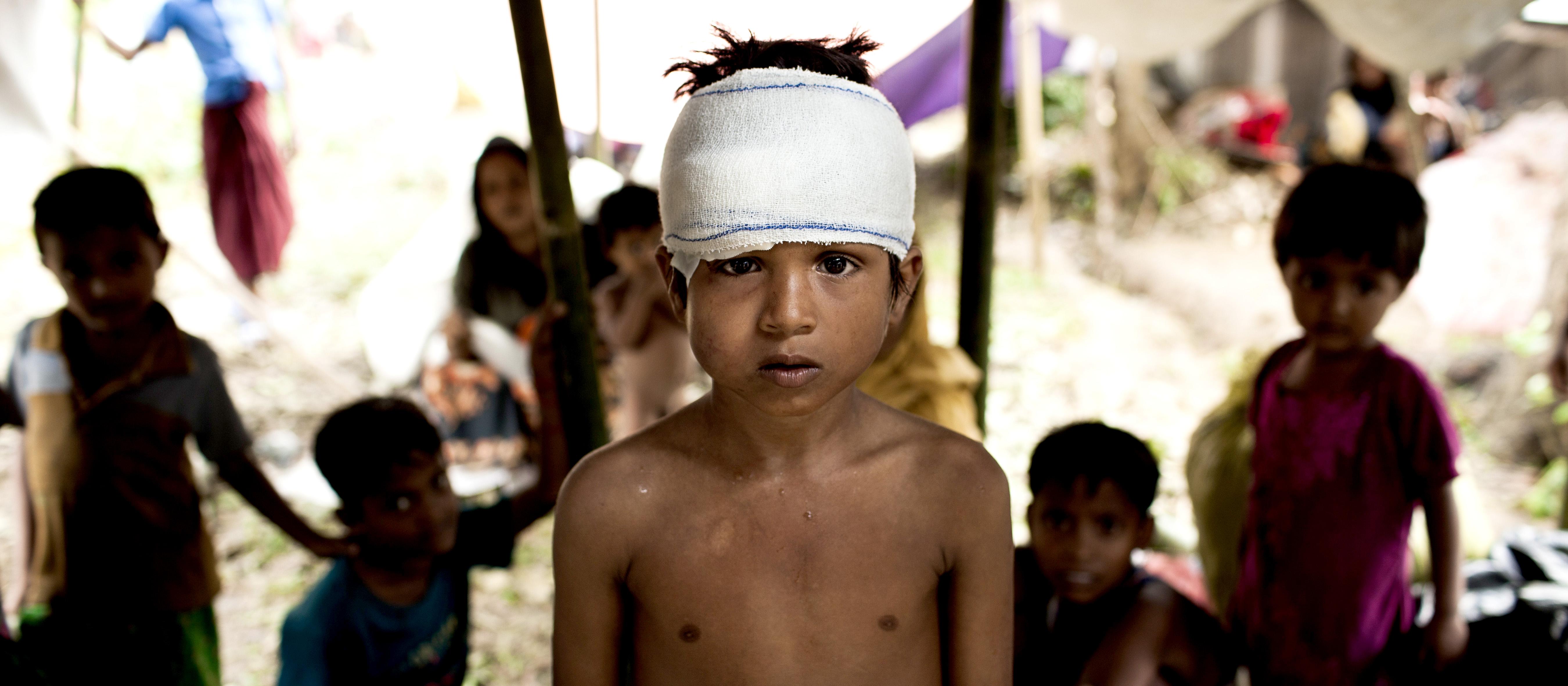 飽受緬甸當地戰亂之苦的羅興亞兒童難民。 (翻攝 聯合國兒童基金會官方網站)