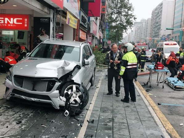 Nine people were injured when an SUV plowed into a crowd in Taipei Sunday.