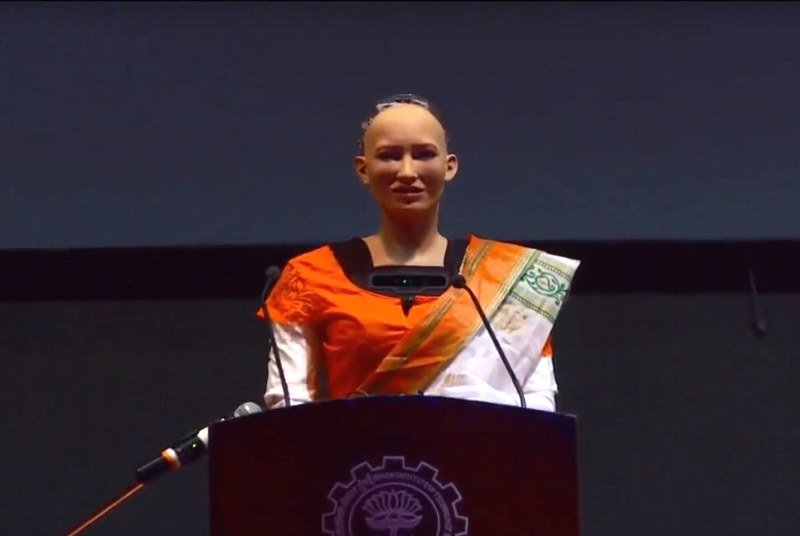 Sophia the robot politely rejected a proposal of marriage during her first visit to India, according to a video release (photo from YouTube)