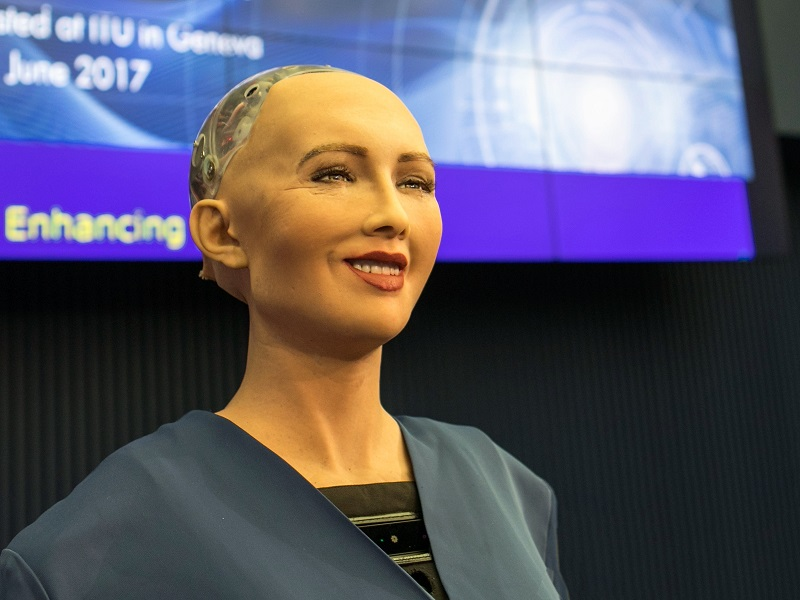 Sophia the robot politely rejects an imaginative proposal of marriage in her first visit to India
