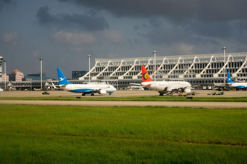 Planes outside Xiamen Airport, Sept. 2016.