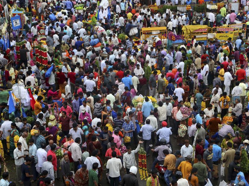 Ugadi Market in Bangalore, India