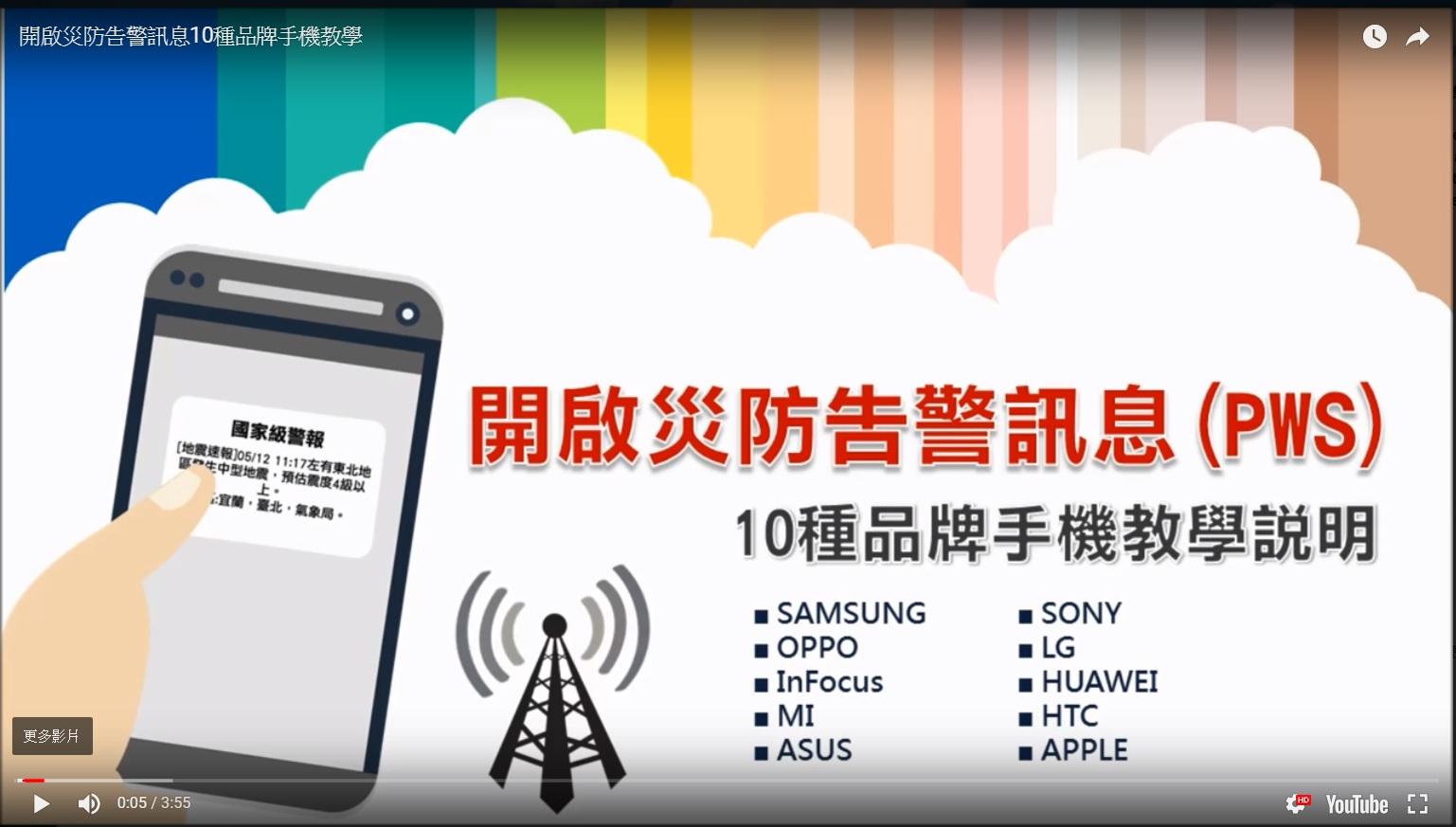 圖片擷取自中華電信之「開啟災防告警訊息(PWS)」youtube網站。