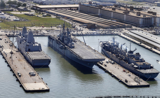 USS Wasp (LHD-1), center in file photo 2016.