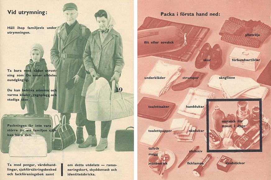 1940年代,瑞典初次發行諮詢手冊教導民眾如何應對戰事發生。
