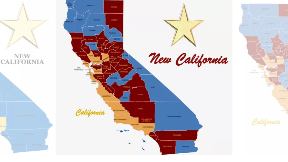 「新加州」運動團體所規劃的新加州地圖。 (翻攝 新加州官網)