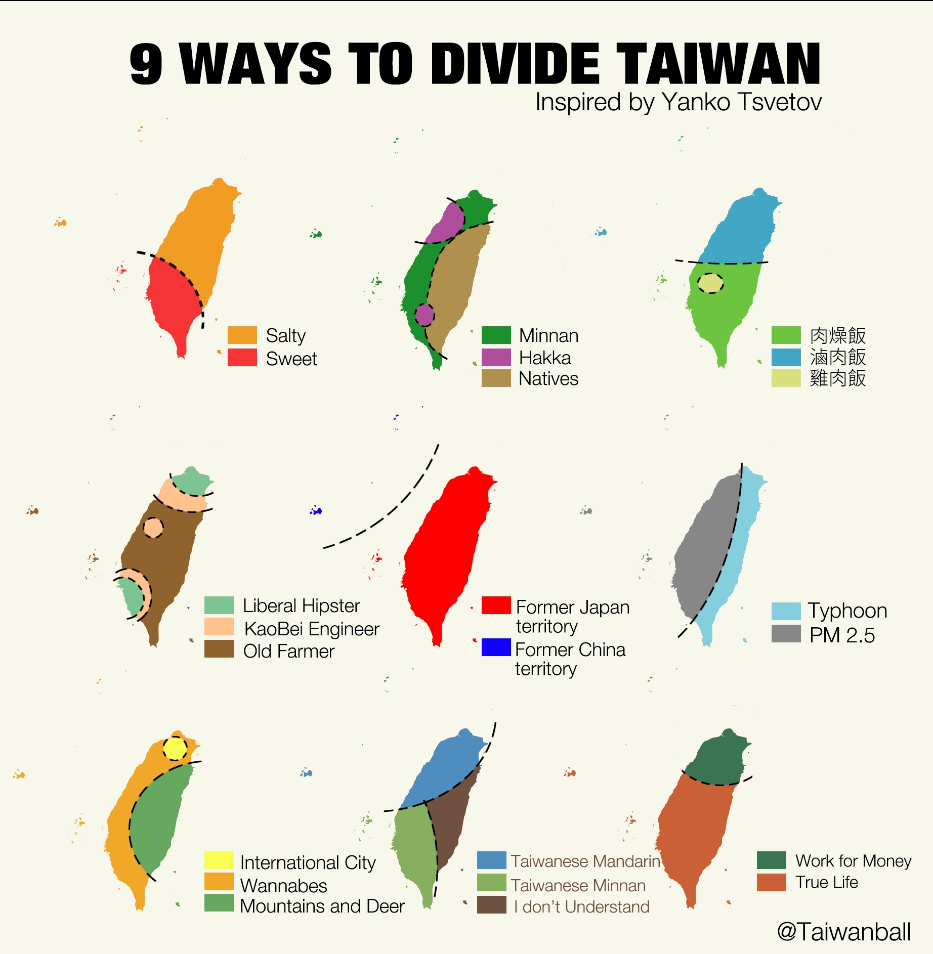 Fun map of 9 ways to divide Taiwan Taiwan News