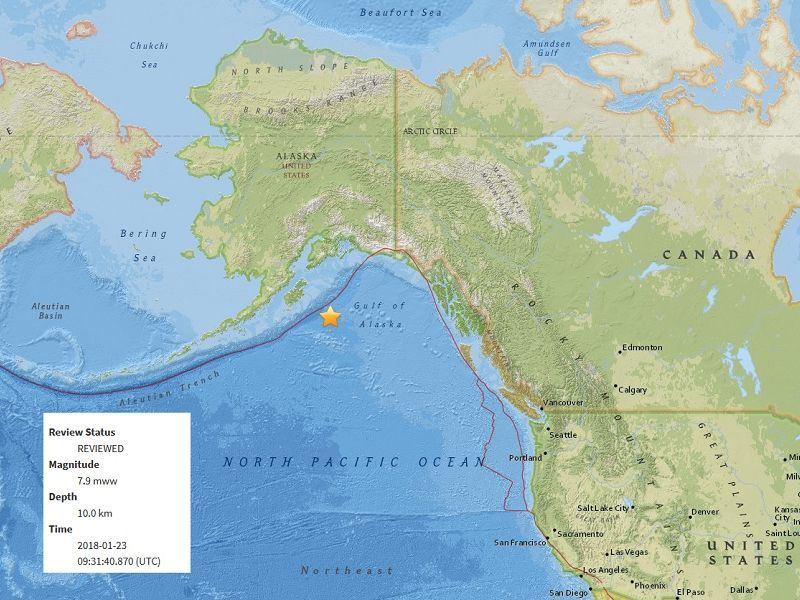 Magnitude-7.9 quake hit Alaska, followed by tsunami warnings.