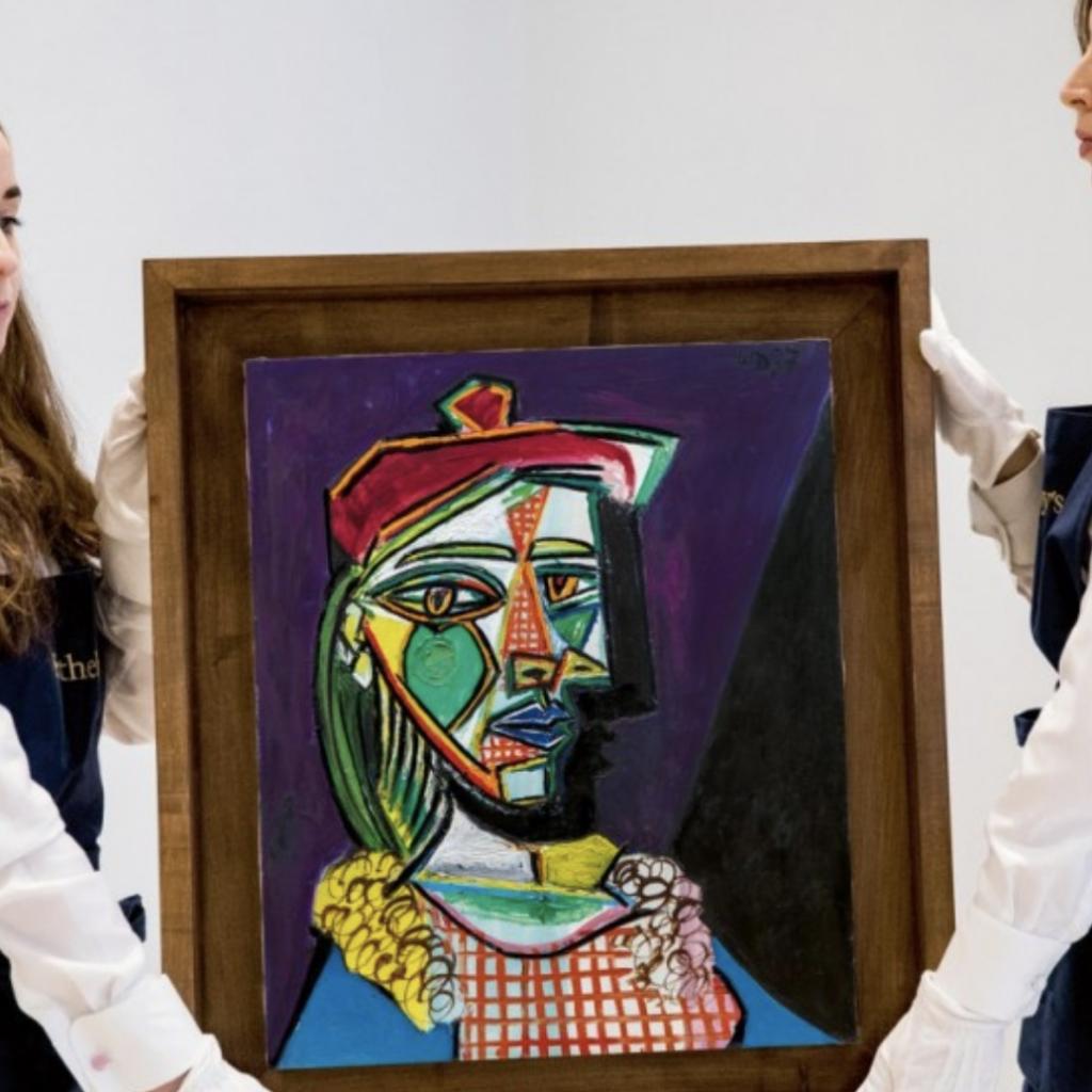 Picasso's 'Femme au béret et à la robe quadrillée (Marie-Thérèse Walter)' comes to Taipei. (Image from Sotheby's)