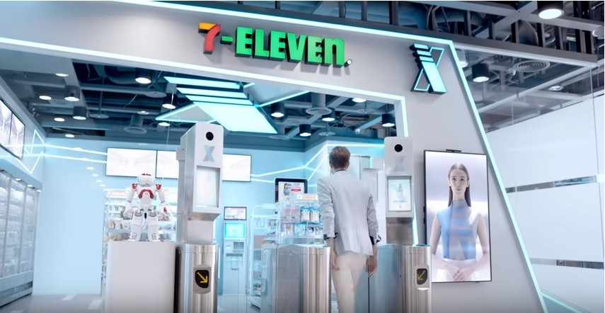 Screen capture of YouTube video showing new 7-Eleven X-Store.