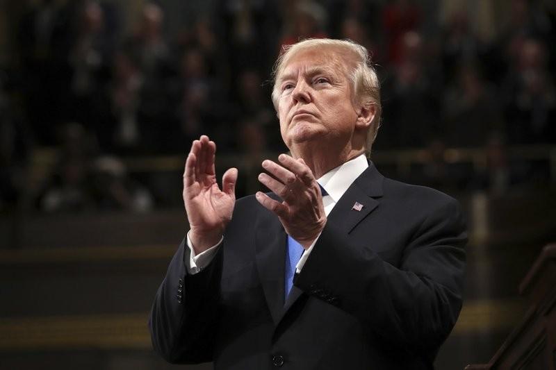 川普在國情咨文演說中,針對移民議題發表言論。 (美聯社)