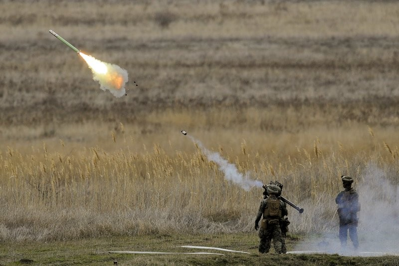 A Stinger being fired during military drills in Romania.