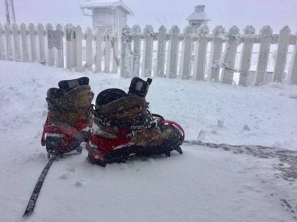 Snowfall on Yushan on Feb. 3 (Photo courtesy of the Central Weather Bureau)