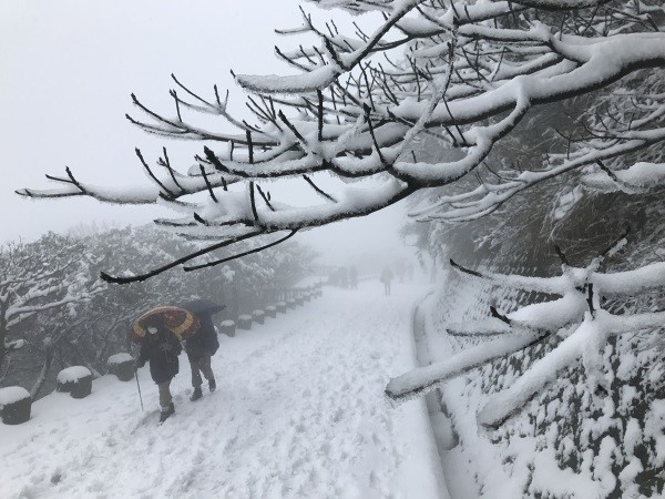 Snow on Yangmingshan's Datunshan.