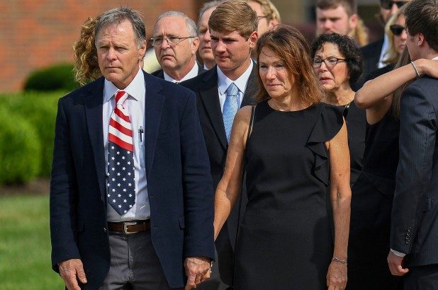 Otto Warmbier's parents at their sons funeral.