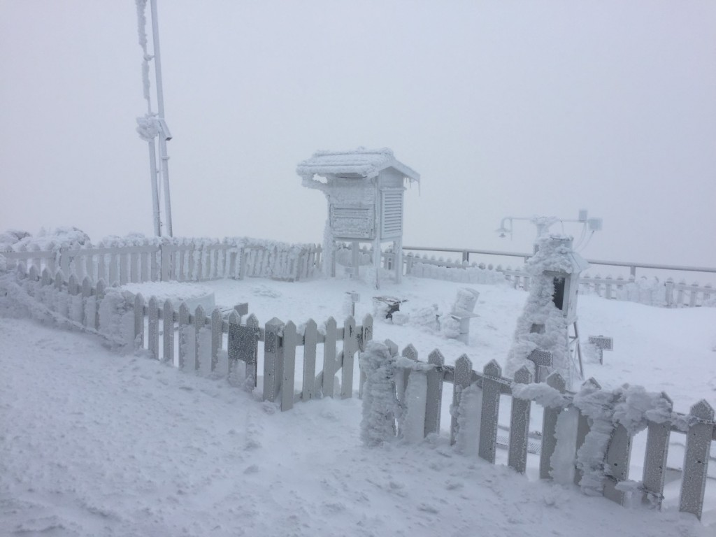 CWB data shows that 9.6 centimeters of snow falls measured on Yushan Wednesday morning (Credit: Central Weather Bureau)