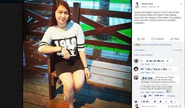不幸於花蓮地震中喪生的菲律賓看護美樂蒂(Melody Albano Castro)(照片截取自Facebook)