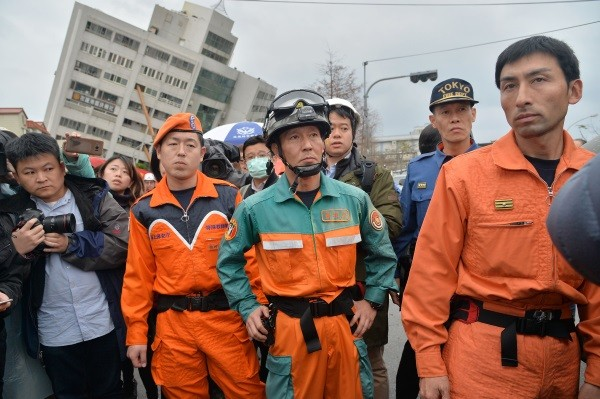 Japanese rescue team arrives at scene on Feb. 8.
