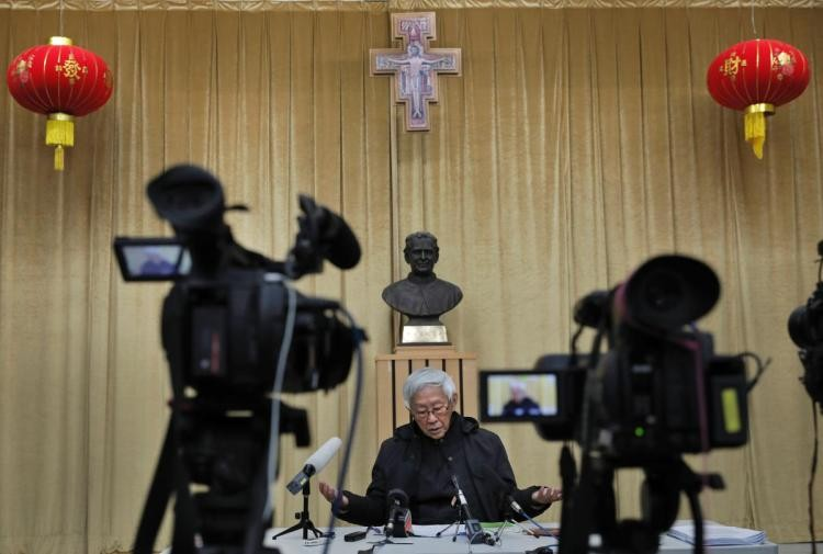 Retired archbishop of Hong Kong Cardinal Joseph Zen speaks during an interview in Hong Kong, Friday, Feb. 9, 2018.