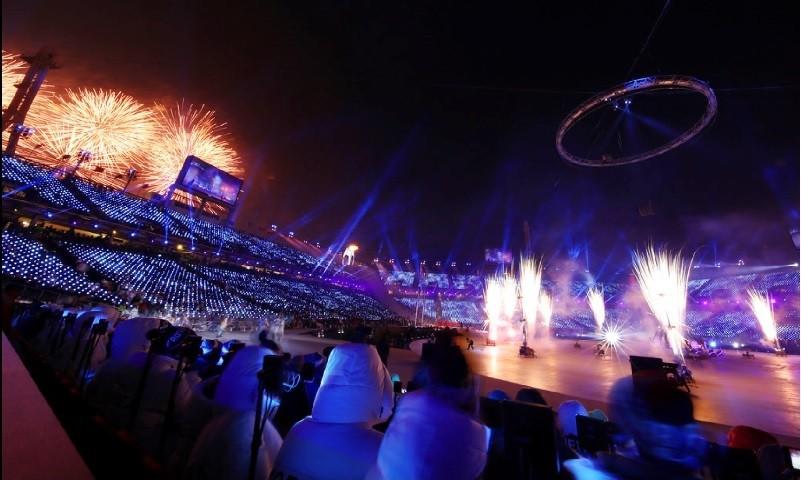 圖為2月9日南韓平昌冬季奧運開幕式。美聯社