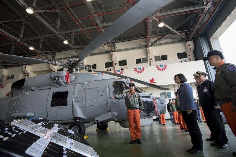 President Tsai Ing-wen (third right) examines military equipment at the ROC Navy Fleet Command Feb. 13 in southern Taiwan's Kaohsiung City. (Courtesy