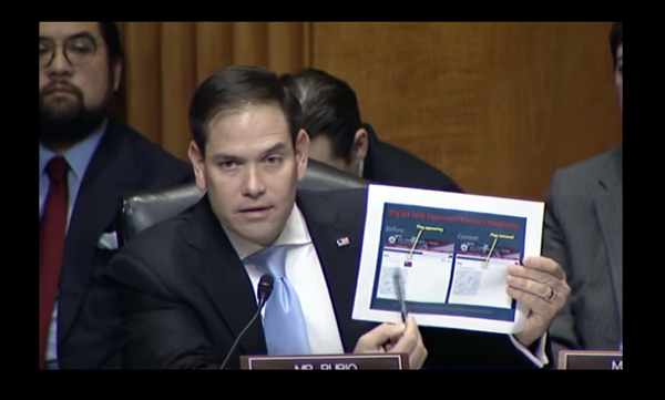 Sen. Marco Rubio, Senate Foreign Affairs Committee, Feb. 15 (Image from Youtube)