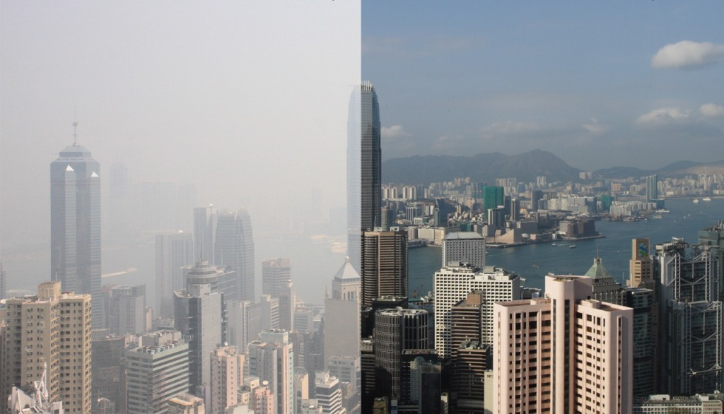 Polluted day in Hong Kong (left), clear day  (right).