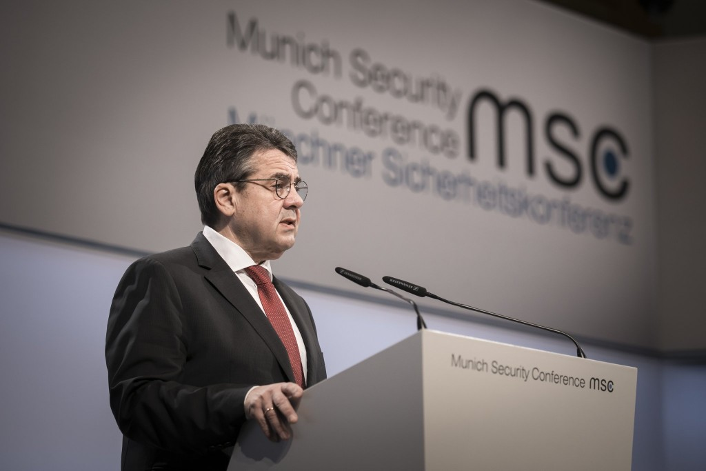 German Foreign Minister Sigmar Gabriel addressing the Munich Security Conference.