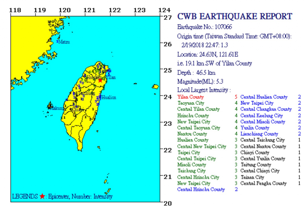 Map of quake from Central Weather Bureau.