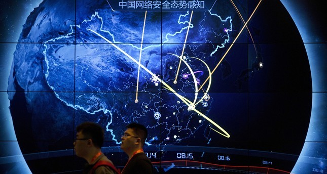 An electronic display showing cyberattacks in China at an Internet Security Conference in Beijing. Sept. 12, 2017.