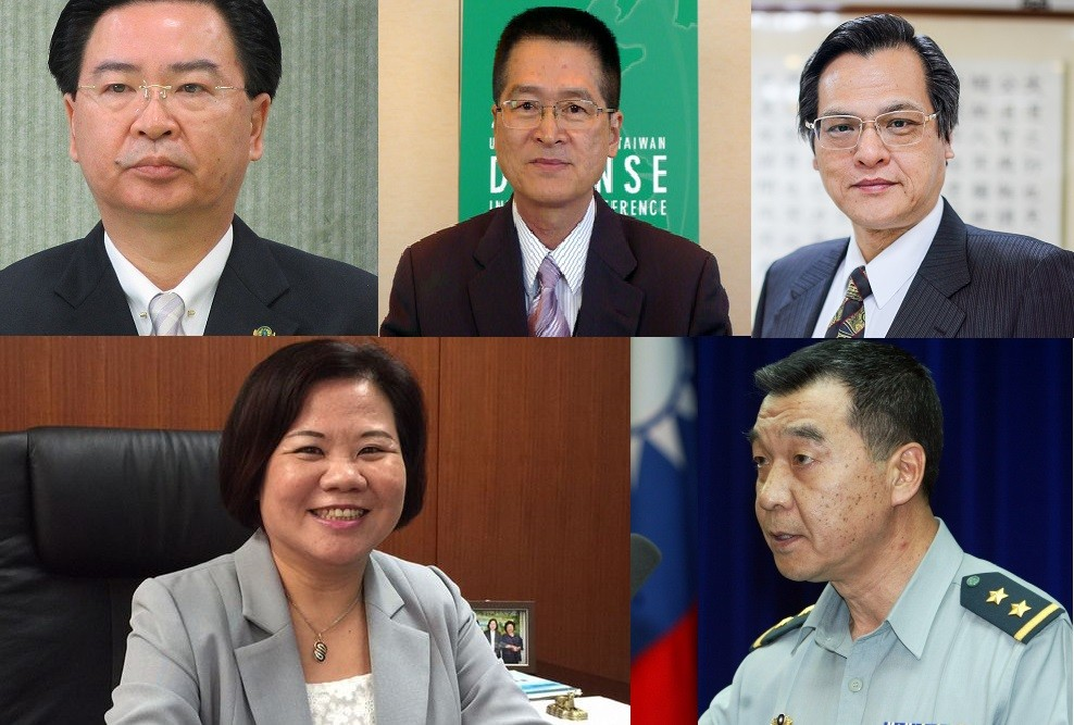 Cabinet appointees (from top left to bottom right) Joseph Wu, Yen Teh-fa, Chen Ming-tong, Hsu Ming-chun and Chiu Kuo-cheng.