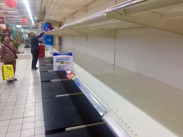 Empty shelves at store in Kaohsiung.