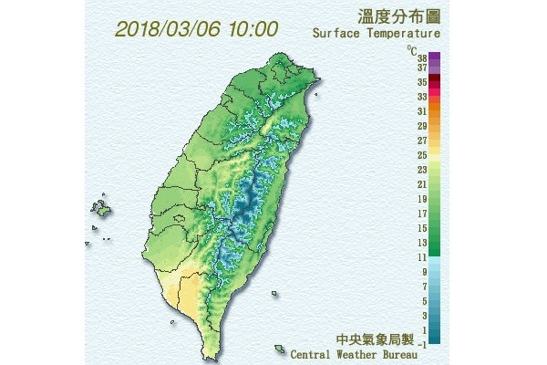 CWB map of surface temperatures in Taiwan.