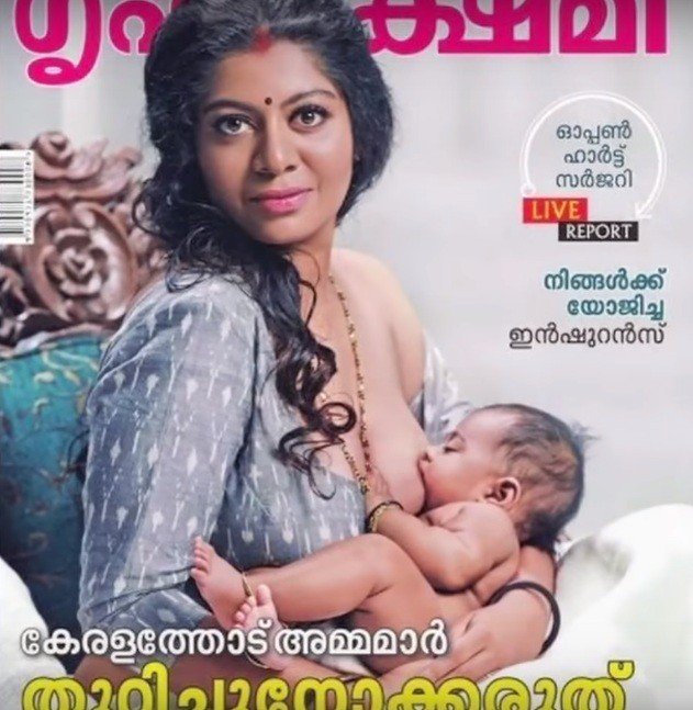 印度雜誌近日刊登一張女性哺乳照,意外引發爭議(照片翻攝自社群媒體youtube)