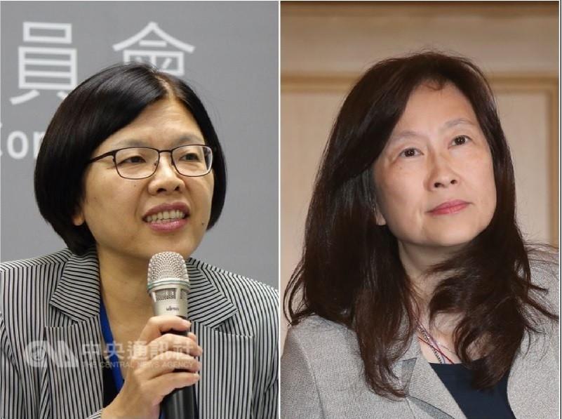 黨產會發言人施錦芳(左)8日表示,辜家涉隱匿、毀損婦聯會資料,最快明天移送檢方調查。圖右為辜懷如。中央社檔案照片