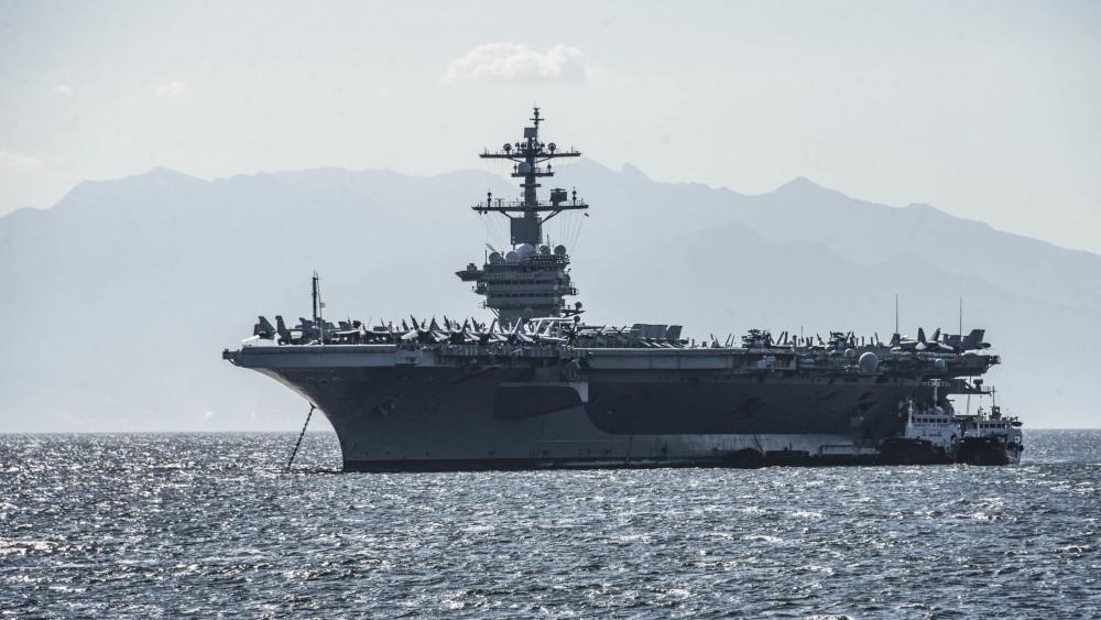 2月19日,美國航母卡爾文森號在馬尼拉外海巡邏。(翻攝 美國海軍官網)