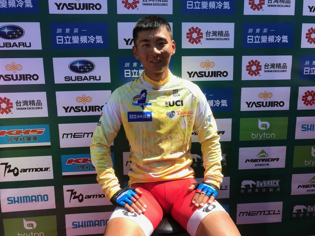 Hayato Okamoto celebrates his wins in the first round of the Tour de Taiwan.