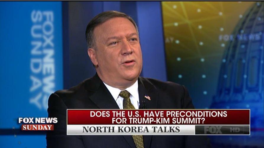 美國中情局局長蓬佩奧上美國《FOX》新聞節目(圖片來源:翻攝自《FOX》新聞畫面)