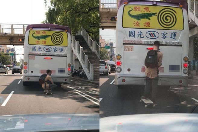 Skateboarder riding back of bus. (Photos  from Facebook group 爆廢公社)
