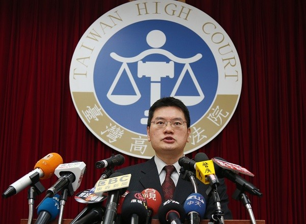 Spokesman for Taiwan's High Court Qiu Zhongyi (邱忠義) announces the Court's decision. March 13