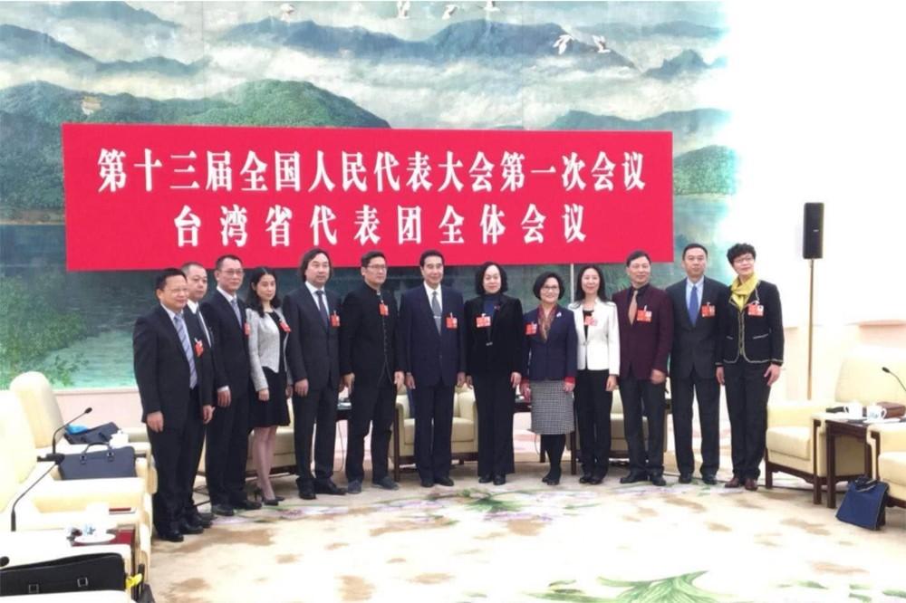 中國兩會的「台灣省代表團」(照片來源:翻攝自海外網:https://goo.gl/UJnX2o)